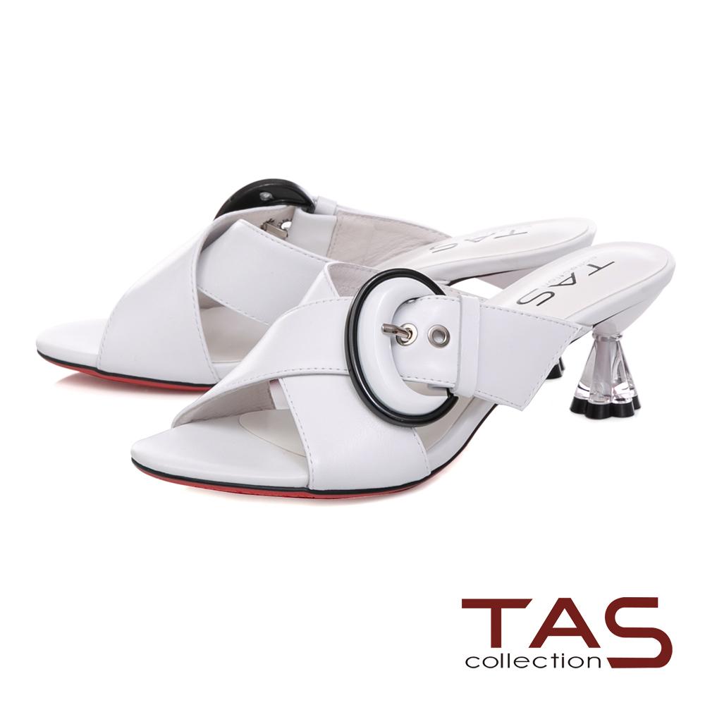 TAS 簡約交叉繫帶圓環飾扣涼拖鞋-亮眼白