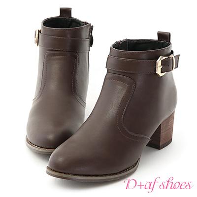 D+AF 時尚主流.質感金屬釦環中短靴*咖