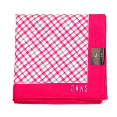 DAKS  經典斜格 大款帕領巾-桃紅色