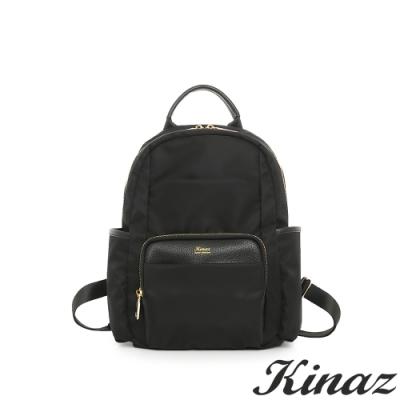 KINAZ casual 輕量防潑水手提後背包-極致深黑-輕甜漫遊系列