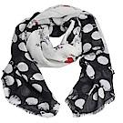 EMPORIO ARMANI 繽紛星球塗鴉品牌圖騰LOGO高質感螺縈絲造型圍巾(米白/黑)