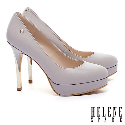 高跟鞋 HELENE SPARK 經典優雅奢華金框珍珠微尖頭羊皮美型高跟鞋-可可