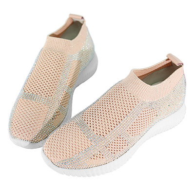 Robinlo & Co.超輕量線條運動感襪子鞋 粉色