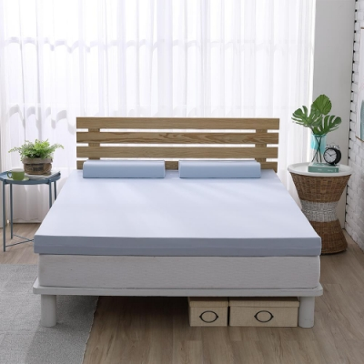 House Door 涼感舒柔表布10cm藍晶靈涼感舒壓記憶床墊保潔組-雙人5尺