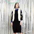 gozo 品牌標語繡線印花長版針織上衣(二色)