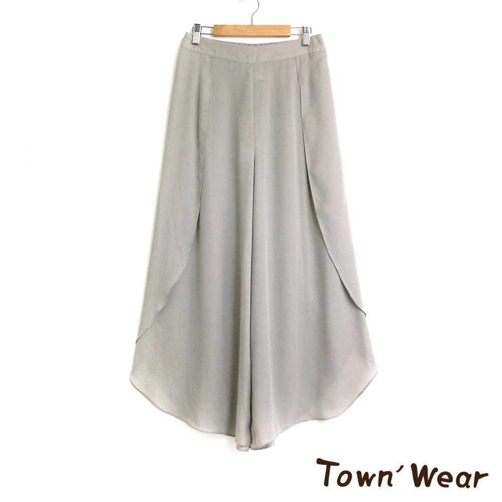 【TOWNWEAR棠葳】純色涼感雪紡造型寬褲