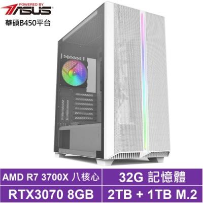華碩B450平台[玄黃星將]R7八核RTX3070獨顯電玩機