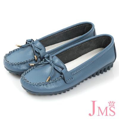 JMS-輕甜超軟Q莫卡辛蝴蝶結娃娃鞋-藍色