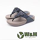 W&M 日系花朵造型健走健塑夾腳拖鞋 女鞋-藍(另有桃紅)