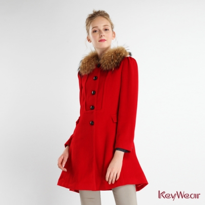 KeyWear奇威名品     貴氣貉子毛領合身大衣-紅色