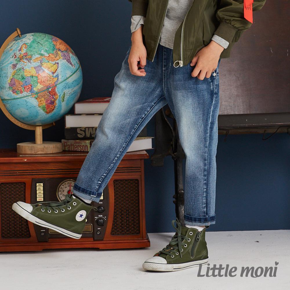 Little moni 牛仔打褶褲 牛仔藍