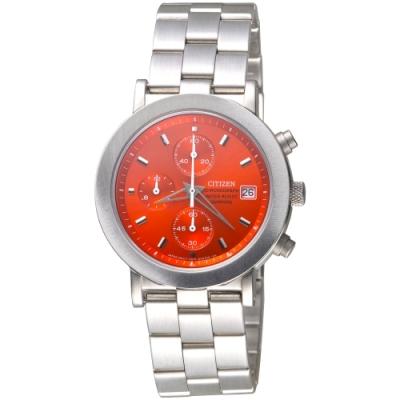 CITIZEN 關鍵先鋒三眼碼錶計時手錶-紅(AN0870-51Y)/37mm 保固二年
