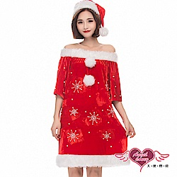 角色扮演 靜謐雪花 聖誕連身裙派對表演服(紅F) AngelHoney天使霓裳
