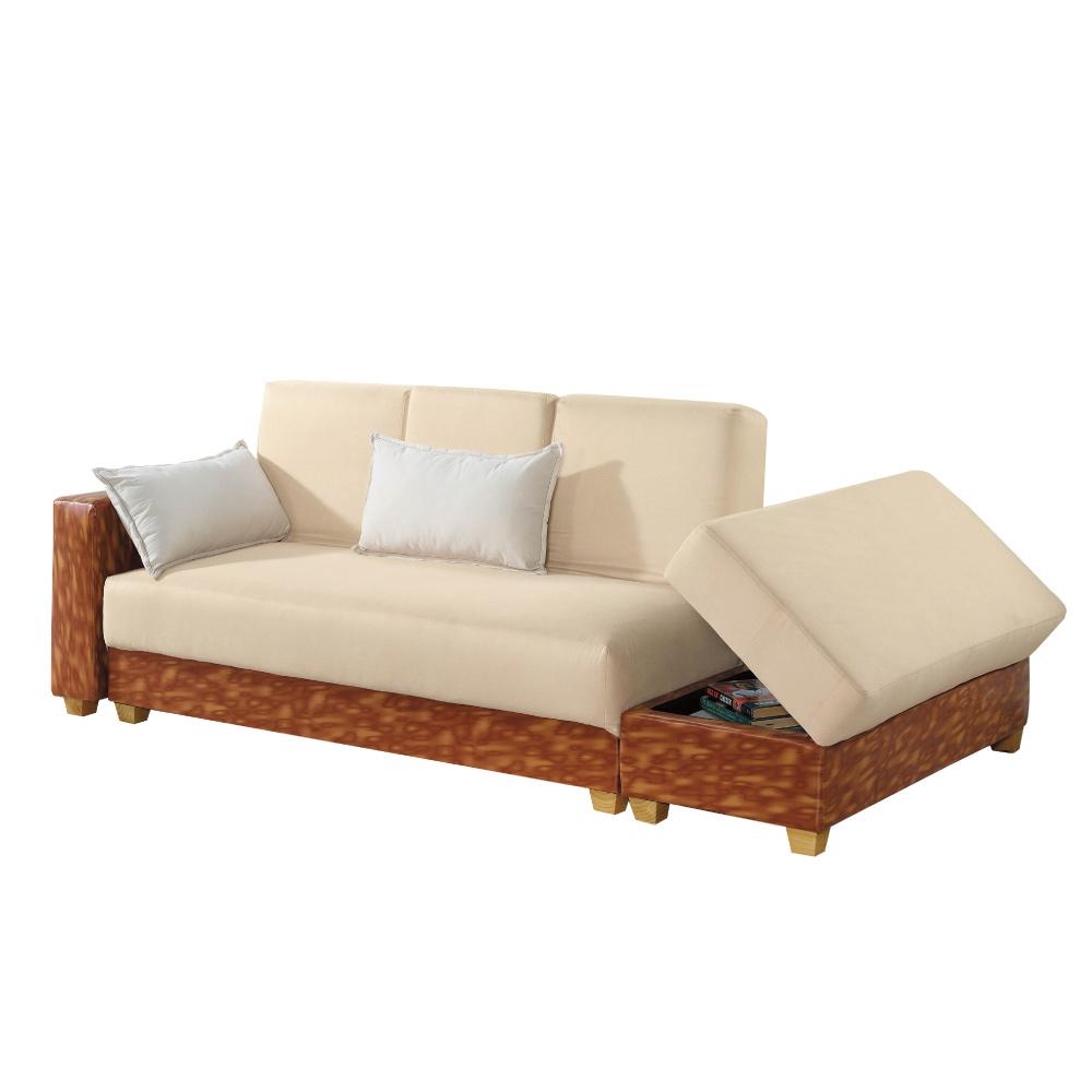 文創集 卡亞時尚亞麻布沙發/沙發床(展開式機能設計)-238x122x88cm-免組
