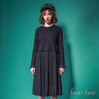 beartwo 典雅優美拼接微透網紗洋裝(灰色)
