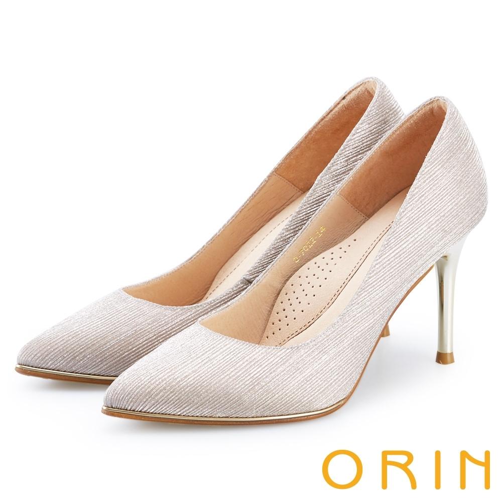 ORIN 晚宴婚嫁首選 華麗閃耀布面尖頭高跟鞋-金色