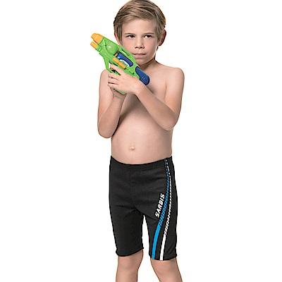 沙兒斯 兒童泳裝 藍邊飾七分男童泳褲