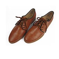 BuyGlasses 韓國人氣紳士綁帶黑邊皮鞋-棕