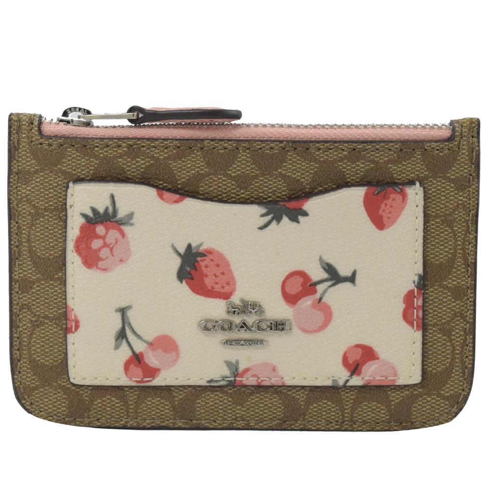 COACH 金屬LOGO草莓PVC卡片零錢鎖包(粉紅) @ Y!購物