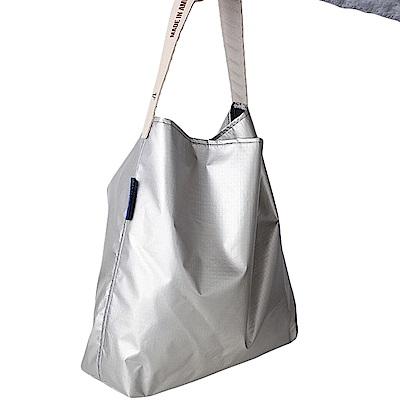 可收納式時尚托特包 (肩背單色版) 水星亮銀
