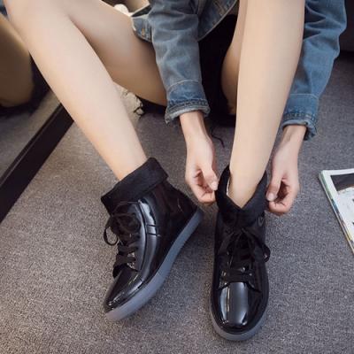 KEITH-WILL時尚鞋館 鞋帶好穿綁帶雨鞋雨靴短靴-黑