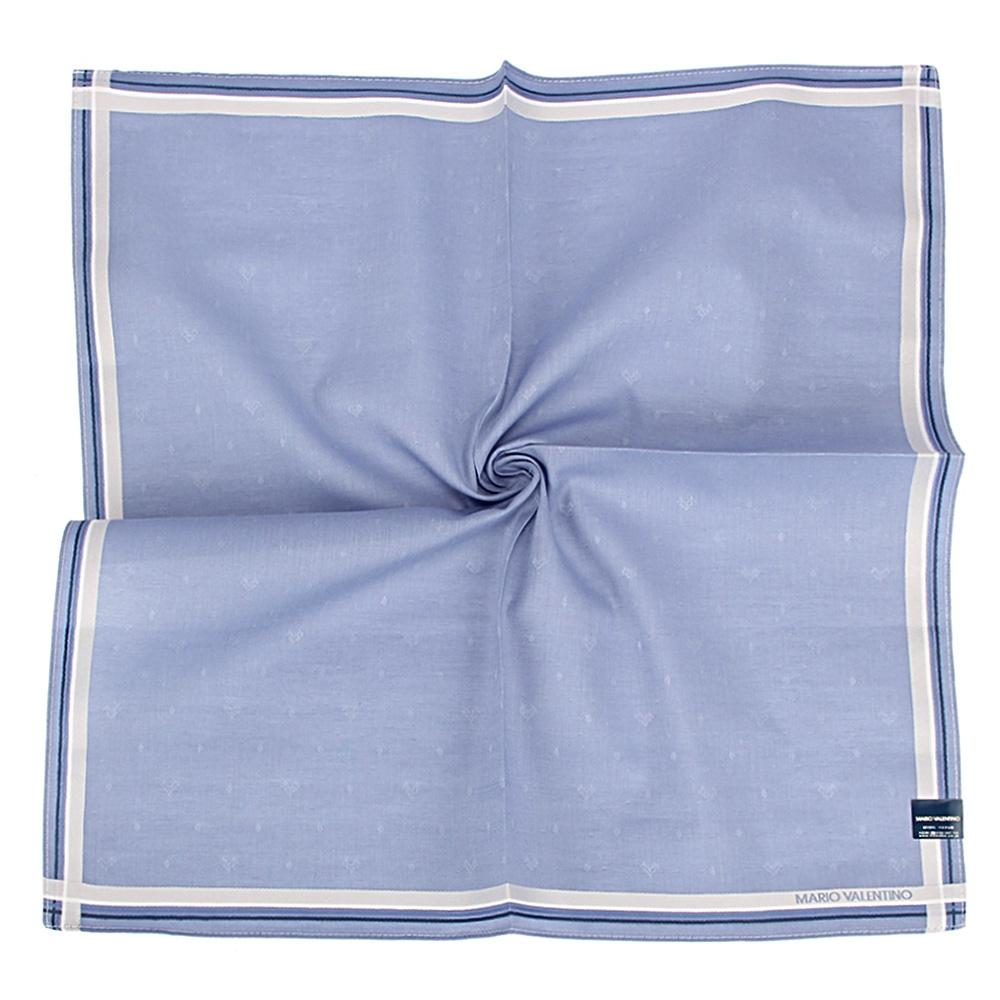 MARIO VALENTINO 簡約經典刺繡LOGO純綿帕巾-藍色