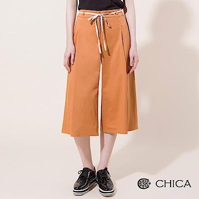 CHICA 優雅質感細綁帶打褶原色寬褲(2色)