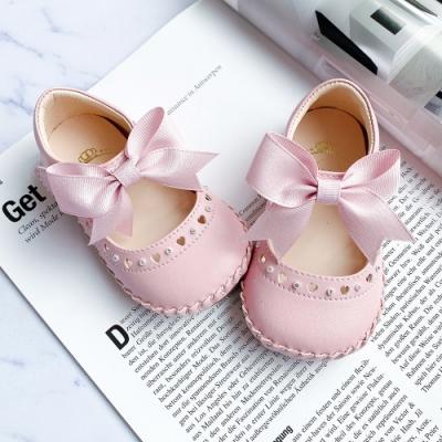 Swan天鵝童鞋-甜美愛心水鑽背帶蝴蝶結學步鞋1524-粉