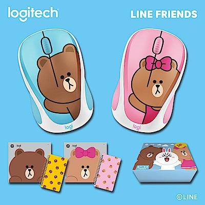 羅技 Line Friends聯名滑鼠-熊大+熊美 兄妹限量版