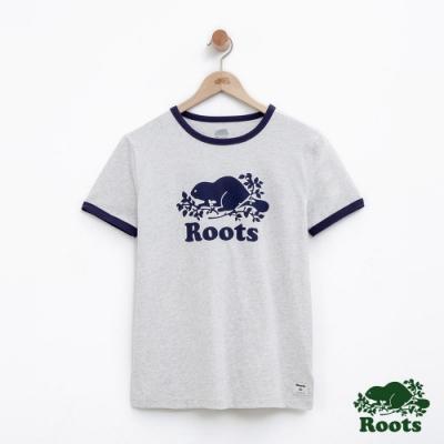 女裝Roots 庫柏海狸短袖T恤-灰色