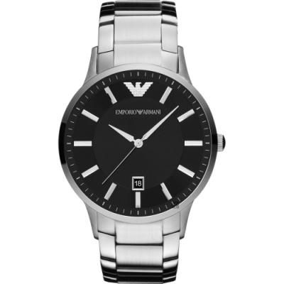 Emporio Armani 亞曼尼紳士手錶(AR11181)-黑x銀/43mm