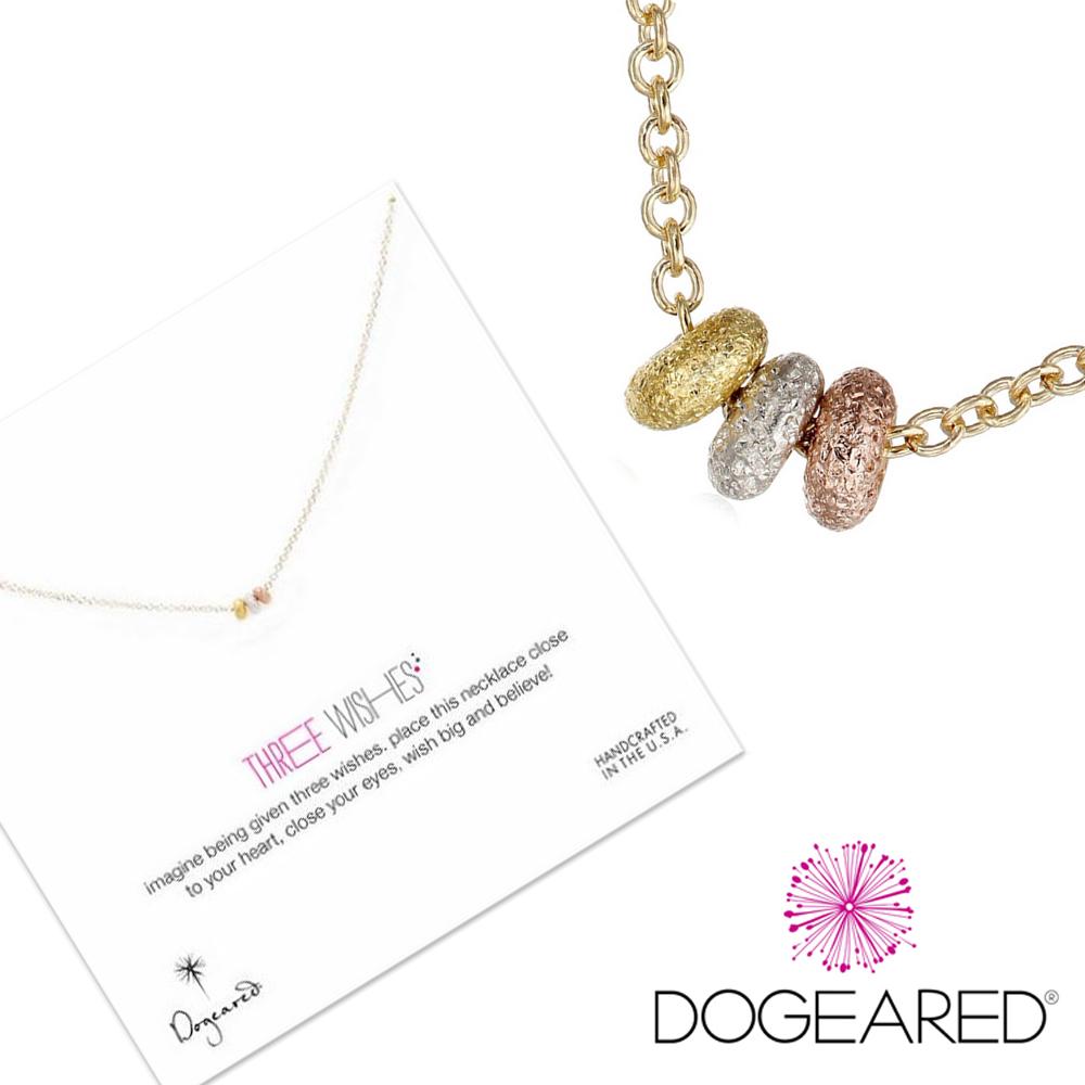 Dogeared three wishes 金銀玫瑰金三色星辰豆豆金項鍊 附原廠盒