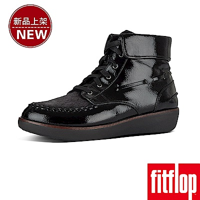 FitFlop GIANINI LACE-UP MOCCASIN BOOTS-黑