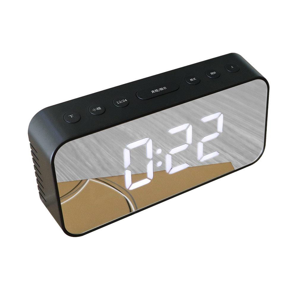 KINYO 多功能鏡面電子鬧鐘(TD-393)黑色-USB/電池雙供電
