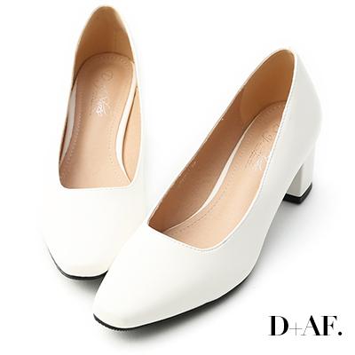 D+AF 溫柔色調.素面方頭美型中跟鞋*白