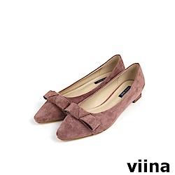 viina Basic 素面蝴蝶結低跟鞋 - 藕粉
