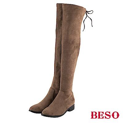 BESO 名模決戰 絨質彈力過膝靴~灰褐