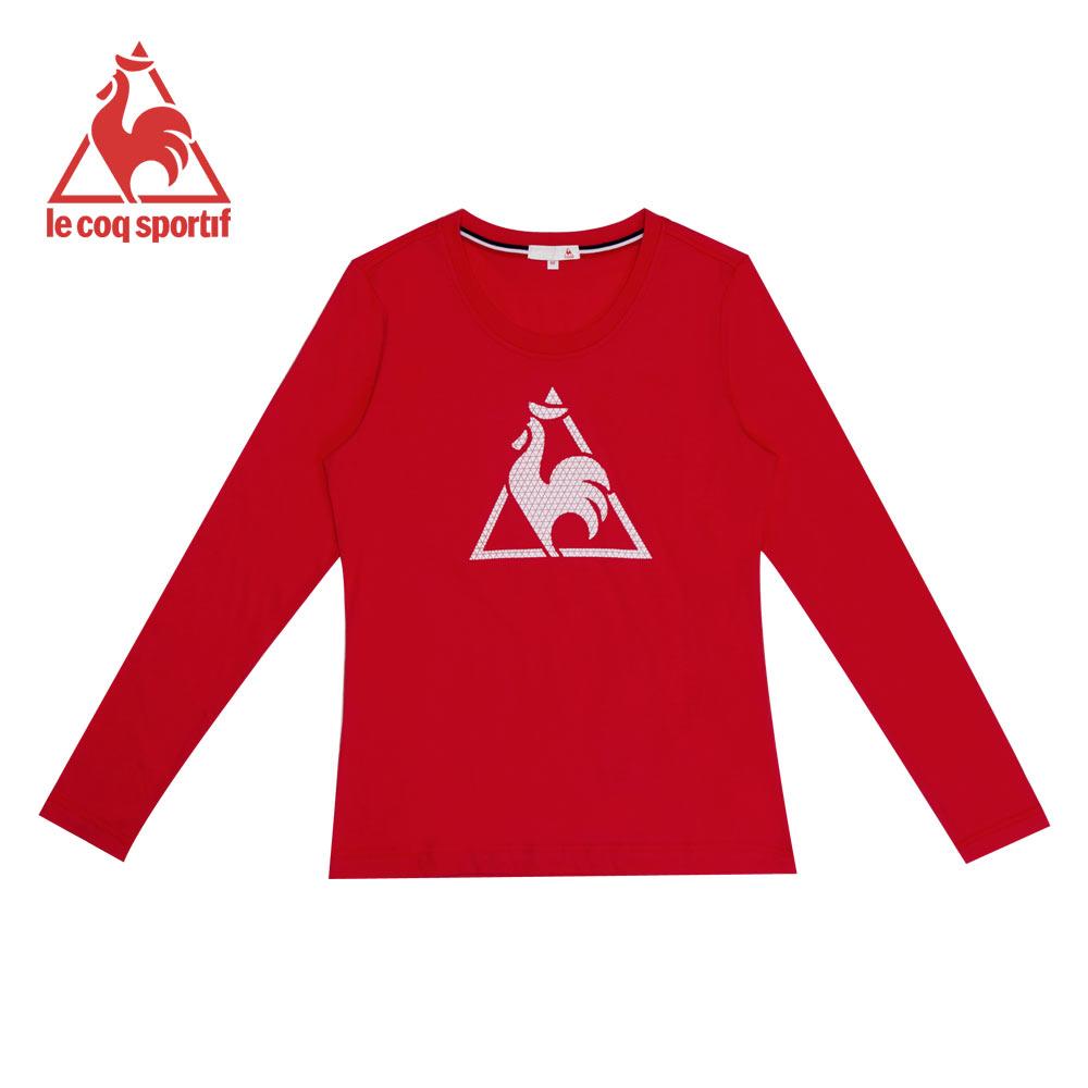 le coq sportif 法國公雞牌經典LOGO印花圓領長袖T恤 女-紅