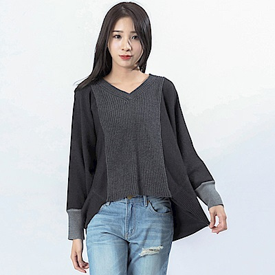 Victoria 粗細織紋組織變化長袖線衫-女-深麻灰