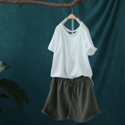 寬鬆輕薄棉質短褲微喇寬管熱褲-設計所在