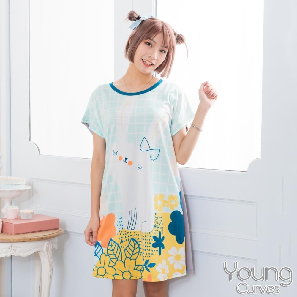 睡衣 牛奶絲質短袖連身睡衣(C01-100713格紋叢林兔) Young Curves