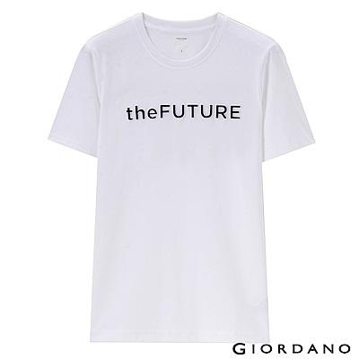 GIORDANO 男裝theFUTURE系列立體印花T恤-01 標誌白
