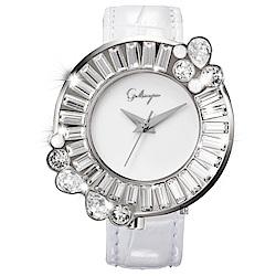 Galtiscopio迦堤 閃轉浪漫系列幾何手錶-白/36mm