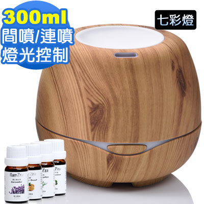 ANDZEN歐美木紋風格超音波負離子水氧機(AZ-3000淺木紋)+澳洲單方純精油x4瓶