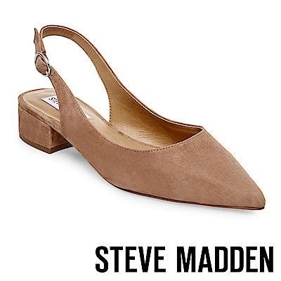 STEVE MADDEN-PATRON 氣質麂皮尖頭粗中跟鞋-絨棕