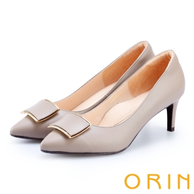ORIN 時尚名媛 飾釦羊皮尖頭高跟鞋-灰色
