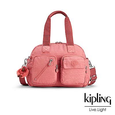 Kipling 手提包 豆沙霧粉素面-中