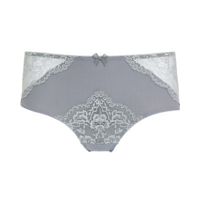 黛安芬-自然美型自然優雅系列 蕾絲無痕中腰平口內褲 M-EL 優雅灰
