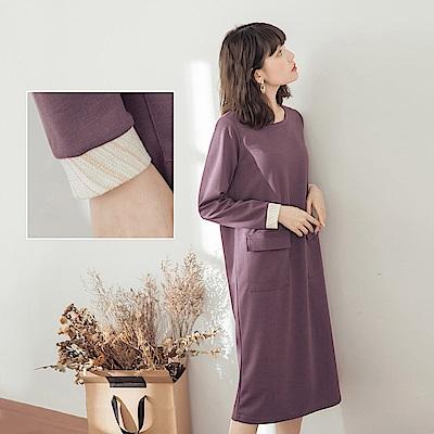 口袋造型拼接袖口長版上衣/洋裝-OB大尺碼
