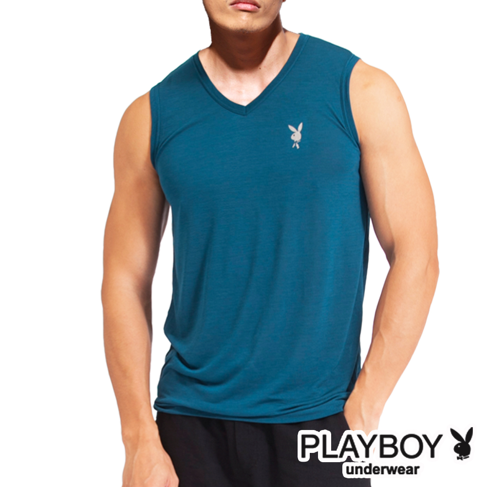 PLAYBOY 吸溼排汗速乾機能服 透涼V領無袖衫(土耳其藍)